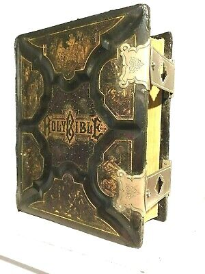 Antiquarian & Collectible Books Large Antique C1900 Family Holy Bible Blank Family Pages Illustrated