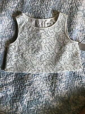 Sequin Dress Top Girls Size 7 Sleeveless By Tevolio White With Silver NWT