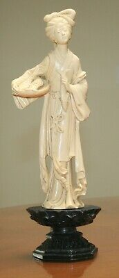 """Vintage Ivory Resin Asian Lady with Fish Basket on Pedestal Figurine 12.5"""" Tall"""