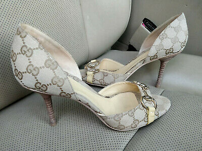 0af0997b7 Gucci GG Canvas Hollywood Horsebit D'Orsay Peep Toe Heels Beige Shoes 132461