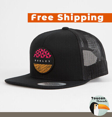 cd270fe8 NEW Hurley JJF Bula Black Trucker Hat Limited Edition Surf Patch Cap NWT  YUPOONG
