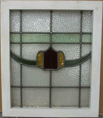 "OLD ENGLISH LEADED STAINED GLASS WINDOW Pretty Band & Swag Design 17.5"" x 20.5"""