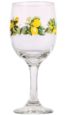 Lots Of Lemon Printed Wine Glasses, 11.5 oz. New Free Shipping