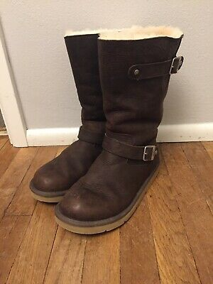 a0a6f14a46a UGG AUSTRALIA KENSINGTON Boots Leather Sheepskin Brown Insulated Size 10  5678