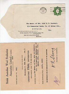 1931 Pre Stamped envelope and letter to CBC Bank Donald Victoria