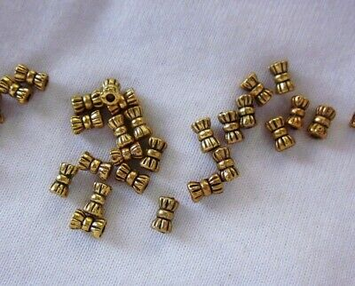 50 Antique Gold Coloured 6mmx3mm Bow Tie Spacer Beads #sp1347 Findings Craft