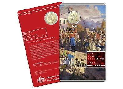 2019 $1 The Rum Rebellion 1808 in Mint Card UNC NEW RAM RELEASE
