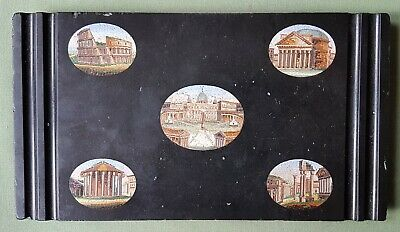 Nice early 19th century Micro Mosaic Paperweight or Pen Holder, Roman Ruins