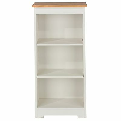 Cameo Low Bookcase Display Unit Solid Wood White Painted And Oak