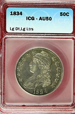 1834 ICG AU50 LARGE DATE LARGE LETTERS CAPPED BUST Half Dollar!! #E1427