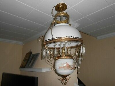 Antique Victorian Gone With The Wind Hanging Electric- Oil Lamp