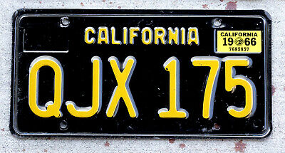 1963 YELLOW ON Black California License Plate with a 1966 Sticker