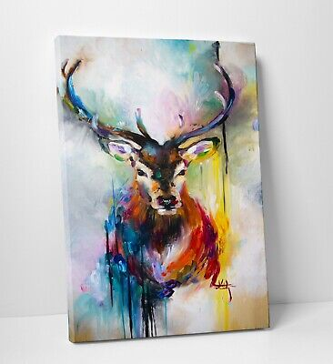 Modern Abstract Animal Deer Oil Painting Canvas Wall Art Picture Print A0 A1