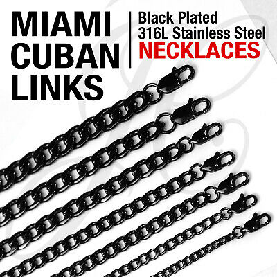 "Black Plated Stainless Steel 316L Miami Cuban Links Necklaces Men Women 14""-48"""