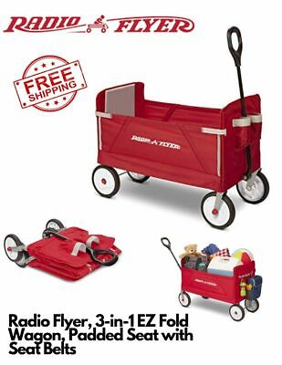Radio Flyer 3 In 1 Ez Folding Wagon With Canopy For Kids And Cargo