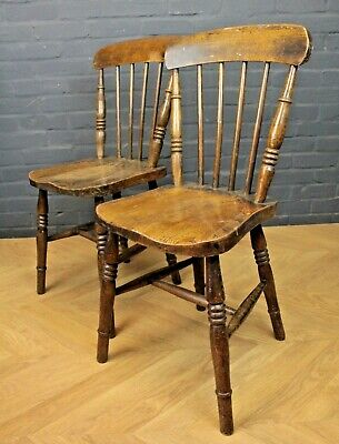 Pair of Antique Victorian Stick Back Beech & Elm Farmhouse Kitchen Dining Chairs