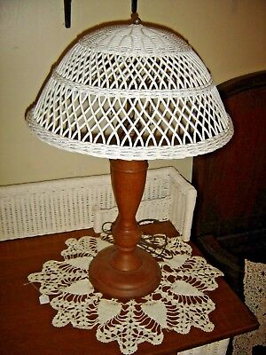 Antique Oak Lamp with Wicker Shade. Double pull chain sockets. 8943