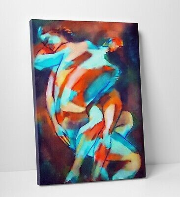 Erotic Modern Abstract Sexy Couples Embrace Canvas Wall Art Picture Print A0 A1