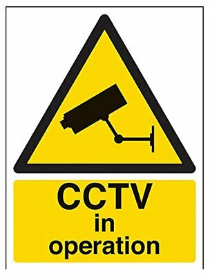 VSafety Warning CCTV In Operation Sign - 150mm x 200mm - Self Adhesive Vinyl