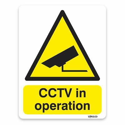 CCTV in operation Sticker - Site Safety & Security Signs - 10cm x 13cm on white