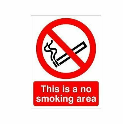 This is a No Smoking Area Sign 150mm x 200mm – Rigid Plastic (PRS.01W-RP)