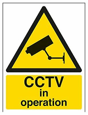 VSafety CCTV in Operation Warning Sign - 150mm x 200mm - Self Adhesive Window St