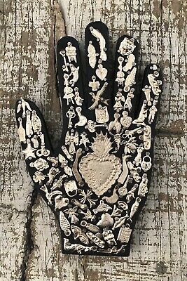 """Black Milagros Hand, Wood Hand with Charms, Sacred Heart, Right Hand 9"""""""