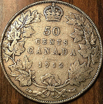 1912 Canada Silver 50 Cents Fifty Cents George Half Dollar