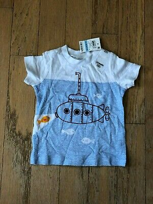 First Impressions Baby Boys White Graphic  Submarine T-Shirt 3-6 Months NWT