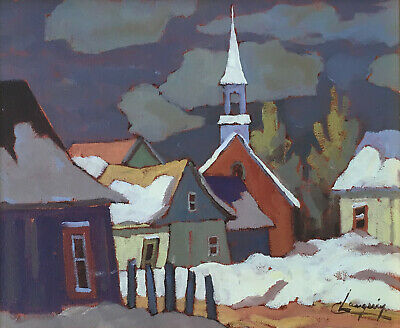 "Claude Langevin, Canadian, oil painting on canvas, ""Laurentides, Quebec"" 10x12in"