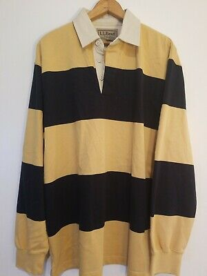 4daf80adc LL Bean Long Sleeve Men's Polo Shirt Size Medium- 100% Cotton - Striped  Rugby
