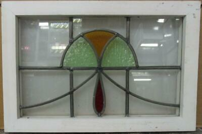 "OLD ENGLISH LEAD STAINED GLASS WINDOW Pretty Abstract Sweep Design 19.25"" x 13"""