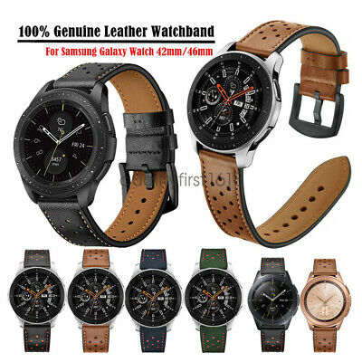 20/22mm 100% Genuine Leather Watch Band Strap For Samsung Galaxy Watch 46mm 42mm