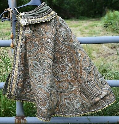 Renaissance Fighting Cape, Tan, Green Embroidery, Brass Ornaments