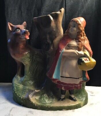 Rare Antique Vintage Numbered Ceramic Little Red Riding Hood Fairytale Vase