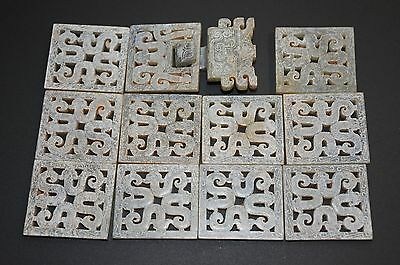 "Chinese Warring States Period Old Jade Carved 12 Dragon Piece A set ""Dai Ban"""