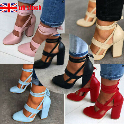UK Womens Ladies Pointed Toe Sandals Block High Heels Ankle Strappy Shoes Size
