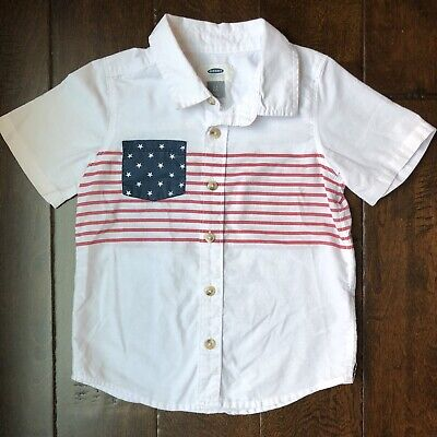 Old Navy Boys American Flag Patriotic Short Sleeve Button Down Shirt 4T July 4th