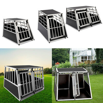 Dog Pet Puppy Aluminium Cage Transport Crate Car Travel Carrier Box Kennel Lock