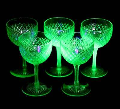 Antique Victorian set of 5 diamond wheel cut uranium glass stem glasses