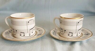 Rare Tiffany & Co. Henry Mancini Moon River Demitasse Cup & Saucer Set X 2