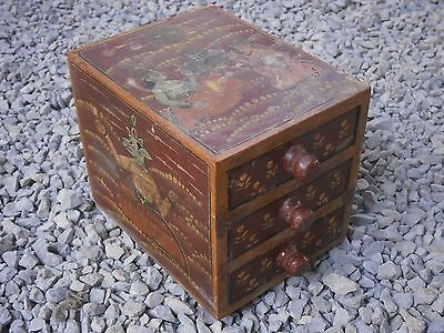Antique Vintage Wooden Box Wiht Tree Drawers Beautiful Painting