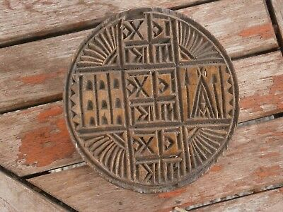 Vintage Antique Wooden Christian Orthodox Stamp Seal For Ritual Bread Prosfor