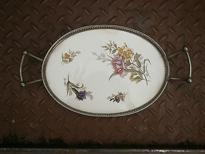 Rare Antique Vintage Old LITTLE Porcelain and Tin Serving Tray WITH YEAR - 1621