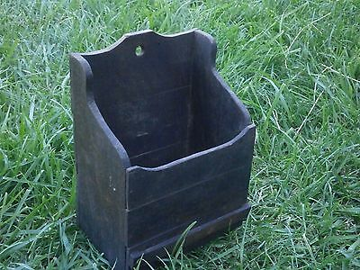 Vintage Antique Wooden Box For Cutlery With Dark Patina