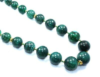 "183.34 Gram Green Quartz 14-21 MM Smooth Round Beads Gold Plated 21.5"" Necklace"
