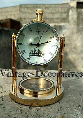 "Handmade Working Brass Marine Clock Table Top ""Perfect For Office Or Home"" DECOR"