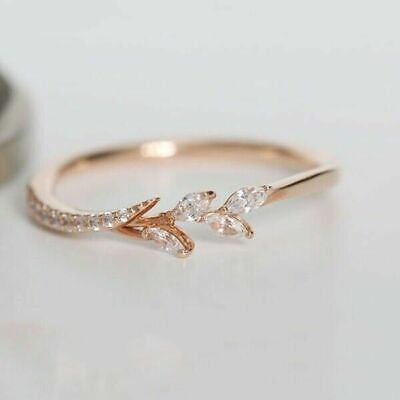 Elegant Women's White Sapphire Leaf Small Ring 10KT Rose Gold Filled Size 6-10