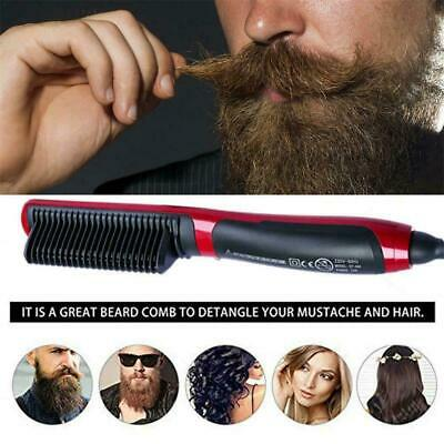10Quick Heated Electric Beard hair Straightener comb Curling Shaping tool brush