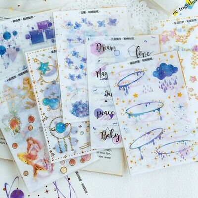 3sh/Set Gilding Washi Paper Stickers Scrapbooking Diary DIY Decor Fairy Night